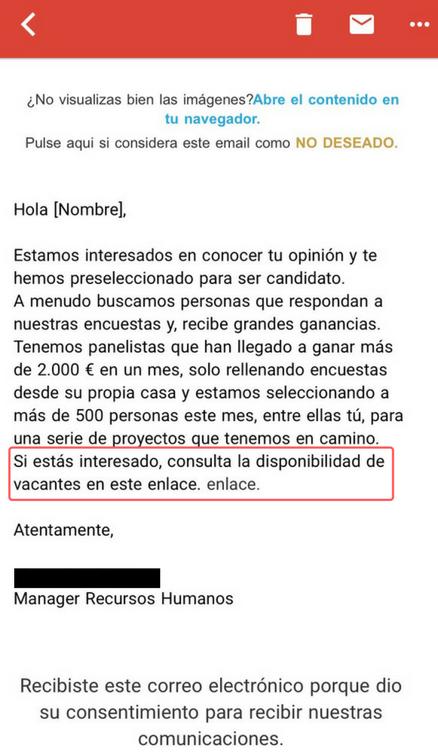 Phishing mediante correo electrónico