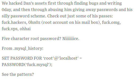 "here the hackers claim the attack and show that ""fuck.[word]"" is the password pattern."