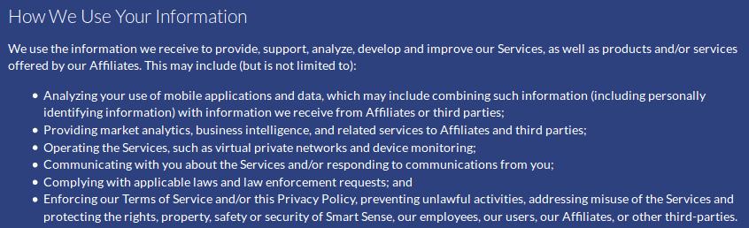 Cómo usamos tu información - Política de Seguridad de la web VPN Defender