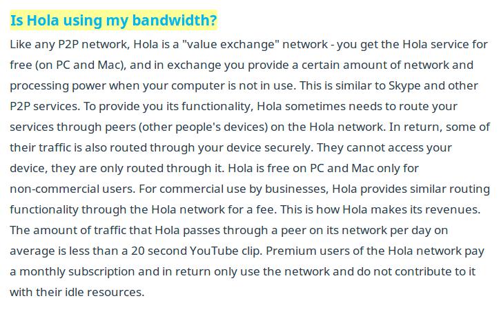 Hola vendía el ancho de vanda de sus usuarios a terceros
