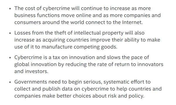 According to McAfree (2), these are the risks cybercrime poses to the world... and therefore to your business.