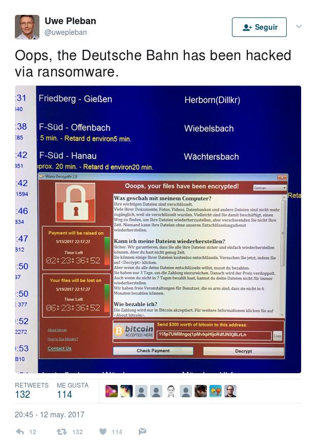 Algunos usuarios tomaron fotos de la aparición del Ransomware WannaCry en las pantallas de Deutsche Bahn.