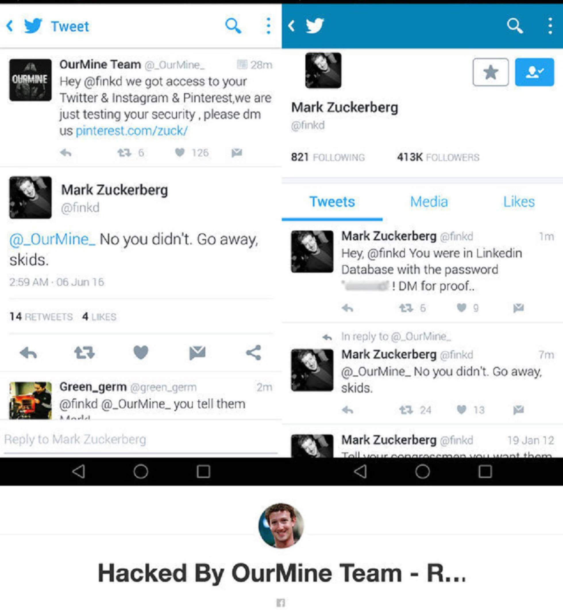 Mark Zuckerberg hacked Twitter account screenshot.