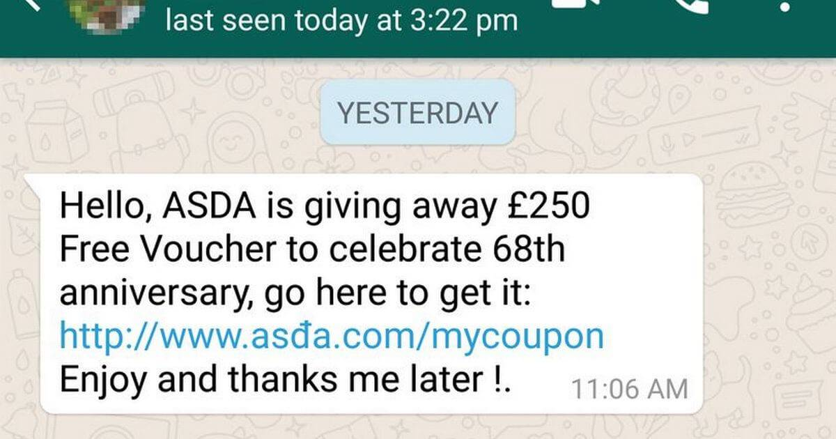 Phishing via sms, WhatsApp is a good example